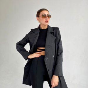 Заказать женский удлиненный двубортный пиджак черного цвета (размер 42-52) в интернете