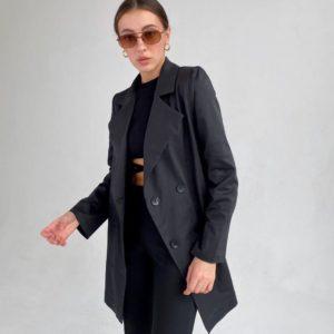 Купить черный удлиненный двубортный пиджак (размер 42-52) по низким ценам для женщин