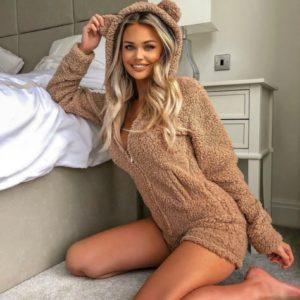 Замовити мокко жіночий плюшеву піжаму-комбінезон Teddy недорого