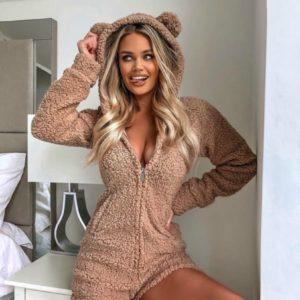 Купити жіночий плюшеву піжаму-комбінезон Teddy кольору мокко по знижці
