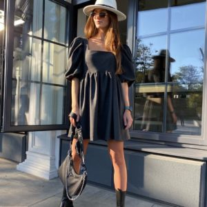 Заказать шерстяное графит женское платье с рукавами фонариками онлайн