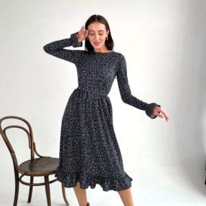 Купить черное женское трикотажное платье миди с принтом (размер 42-54) по скидке