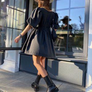 Приобрести женское шерстяное платье с рукавами фонариками цвета графит по скидке