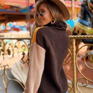Приобрести женский разноцветный свитер из шерсти с акрилом цвета горчица недорого