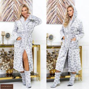 Замовити сірий жіночий довгий махровий халат з капюшоном + чобітки (розмір 42-60) за низькими цінами