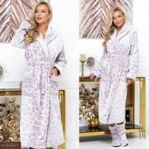 Придбати кольору пудра довгий для жінок махровий халат з капюшоном + чобітки (розмір 42-60) онлайн