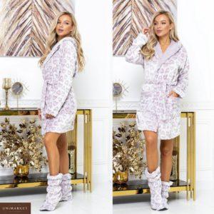 Замовити кольору пудра жіночий халат з чобітками з пухнастої махорки (розмір 42-52) в інтернеті