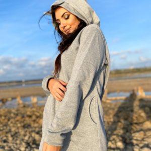 Заказать серого цвета удлиненное женское худи с рожками (размер 42-56) по скидке