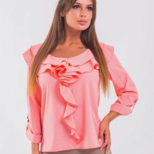Заказать женскую персиковую блузку с рюшами с длинным рукавом недорого