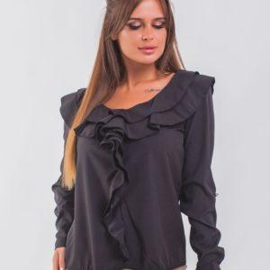 Купить черного цвета блузку с рюшами с длинным рукавом для женщин онлайн