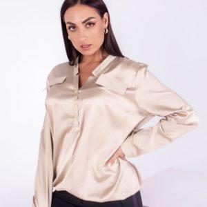 Приобрести женскую шелковую блузку с длинным рукавом (размер 42-54) в интернете беж