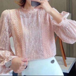 Заказать пудра женскую нежную блузку с рукавами-колокольчиками недорого