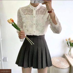 Купить белую блузку из гипюра с цветами с рукавами-колокольчикам для женщин онлайн