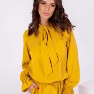 Купить горчица удлиненную блузку для женщин с длинным рукавом (размер 42-56) в интернете