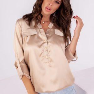 Заказать бежевую шелковую для женщин блузку с длинным рукавом (размер 42-54) недорого