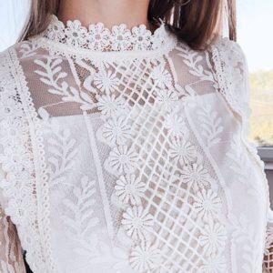 Приобрести белую кружевную блузку женскую с длинными рукавами недорого