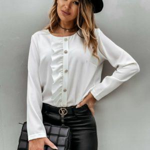 Купить молоко блузку с асимметричной рюшей (размер 42-56) для женщин недорого