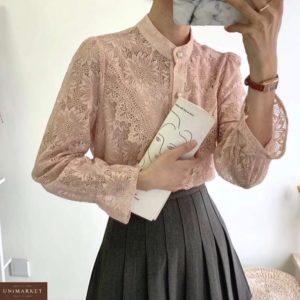 Приобрести пудра для женщин блузку из гипюра с цветами с рукавами-колокольчикам в интернете