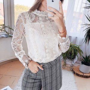 Купить белую кружевную блузку с длинными рукавами для женщин выгодно