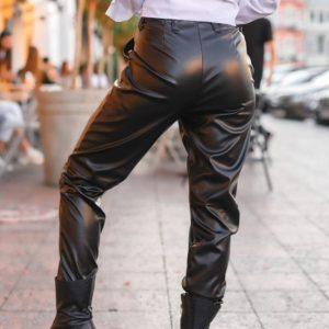 Купить дешево черные брюки из искусственной кожи женские на осень
