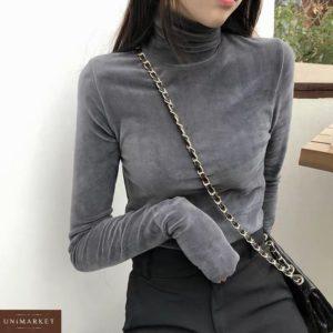 Придбати сірого кольору жіночий Плюшевий гольф з високим горлом дешево