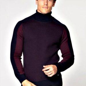 Заказать мужской трехцветный фиолетовый базовый гольф под шею (размер 48-52) по скидке