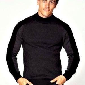 Приобрести черного цвета трехцветный базовый гольф под шею (размер 48-52) для мужчин онлайн