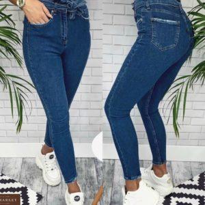 Купить синие джинсы женские скинни с джинсовым поясом недорого