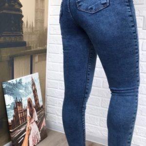 Заказать синие женские стрейчевые джинсы скинни с царапками недорого