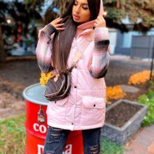 Купить пудра удлиненную жилетку с карманами для женщин на осень дешево