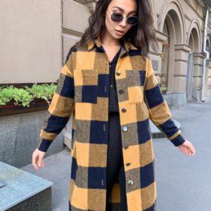 Купить желтую удлиненную рубашку-кардиган в клетку из кашемира для женщин онлайн