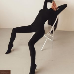 Заказать женский силуэтный комбинезон из креп-дайвинга черного цвета на распродаже