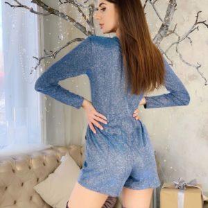 Заказать голубой блестящий комбинезон женский с юбкой-шортами онлайн