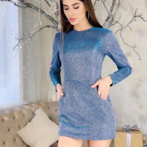Придбати жіночий блискучий комбінезон зі спідницею-шортами блакитного кольору онлайн