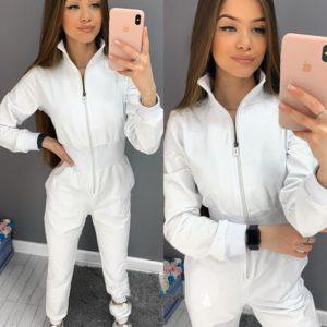 Купити білого кольору жіночий спортивний комбінезон з двухніткі на змійці онлайн