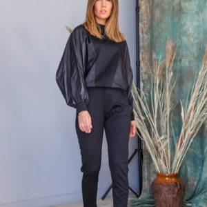 Заказать черный прогулочный женский костюм из плащевки и трикотажа (размер 42-62) онлайн