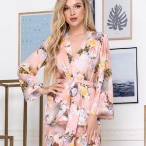 Заказать пудра женский шелковый брючный костюм с цветочным принтом (размер 42-52) в интернете