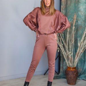 Заказать цвета капучино женский прогулочный костюм из плащевки и трикотажа (размер 42-62) в интернете