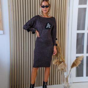 Купить женский костюм из ангоры софт: завышенная юбка+джемпер (размер 42-56) цвета кора дуба в интернете