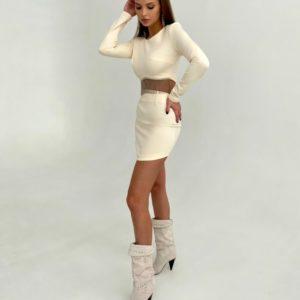 Замовити молочний костюм зі спідницею з бахромою для жінок онлайн