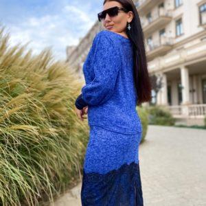 Купить синий костюм: юбка+джемпер с кружевным гипюром (размер 42-56) для женщин в интернете