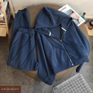 Заказать синий женский спортивный костюм на флисе с кофтой на змейке на зиму по скидке