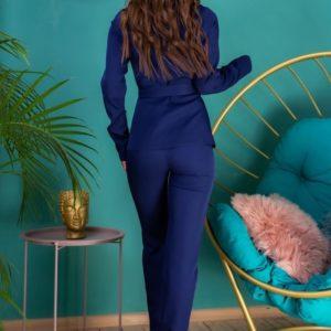 Купить женский синий брючный костюм с пиджаком на поясе (размер 42-54) в интернете