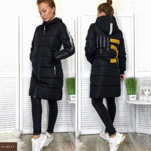 Замовити чорну зимову жіночу подовжену куртку з лампасами (розмір 46-52) онлайн