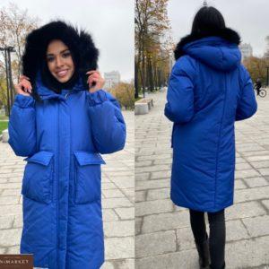 Замовити синю теплу жіночу куртку з опушкою з натурального хутра (розмір 42-50) недорого