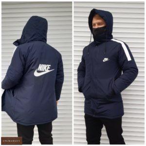 Купить синего цвета удлиненную теплую куртку Nike (размер 46-54) для мужчин по низким ценам