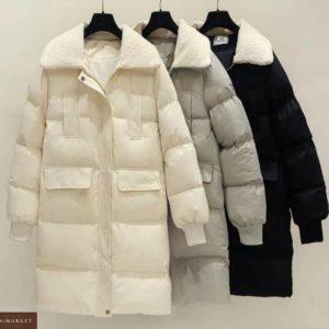 Купити жіночу зимову недорого куртку з плащової тканини з кишенями кольору сірий, молоко, чорний