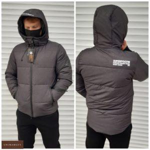 Купить серую теплую куртку на холлофайбере с козырьком (размер 46-54) для мужчин в интернете