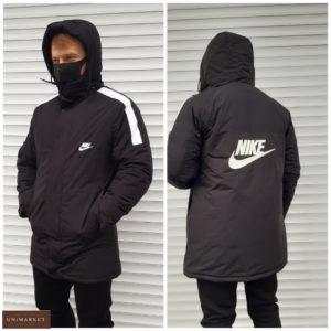 Заказать черную удлиненную мужскую теплую куртку Nike (размер 46-54) онлайн