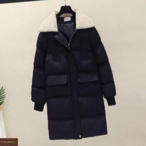 Купити чорну жіночу зимову куртку з плащової тканини з кишенями за низькими цінами